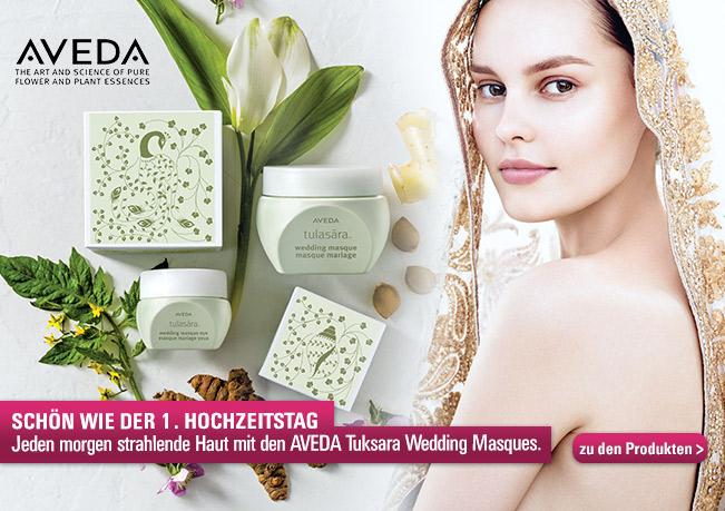 Schön wie der 1. Hochzeitstag: Jeden morgen strahlende Haut mit den AVEDA Tuksara Wedding Masques.