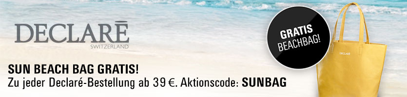 Gratis Declaré Sun Beachbag zu jeder Declaré-Bestellung ab 39 €. Aktionscode: SUNBAG eingeben. Nur solange der Vorrat reicht.