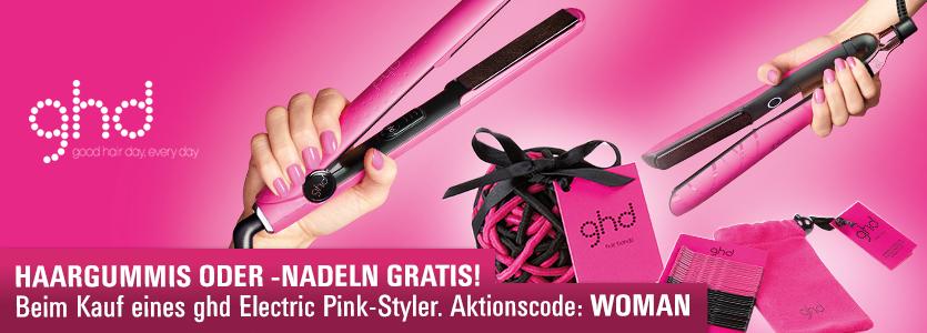 ghd Electric Pink: Beim Kauf eines ghd Electric Pink-Styler - Haargummis oder Haarnadeln gratis.
