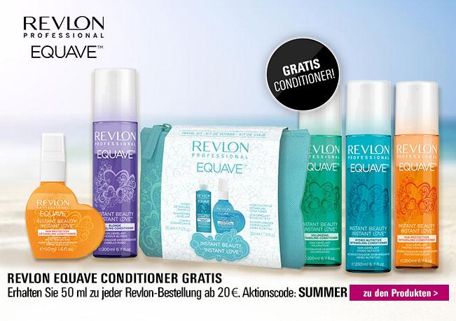Gratis Revlon Equave Conditioner zu jeder Revlon Equave-Bestellung ab 20 €. Aktionscode: SUMMER. Nur solange der Vorrat reicht.