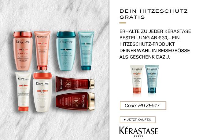 Erhalte zu jeder Kérastase ab 30€ ein Hitzeschutz-Produkt deiner Wahl in Reisegröße gratis dazu.  Aktionscode: HITZE517. Nur solange der Vorrat reicht.
