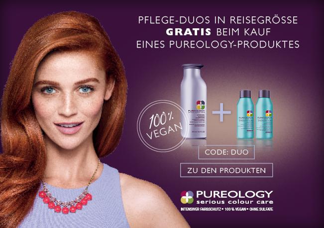 Erhalten Sie 1 von 3 Pflege-Duos in der Reisegröße zu jeder Pureology-Bestellung. Aktionscode:DUO. Nur solange der Vorrat reicht.