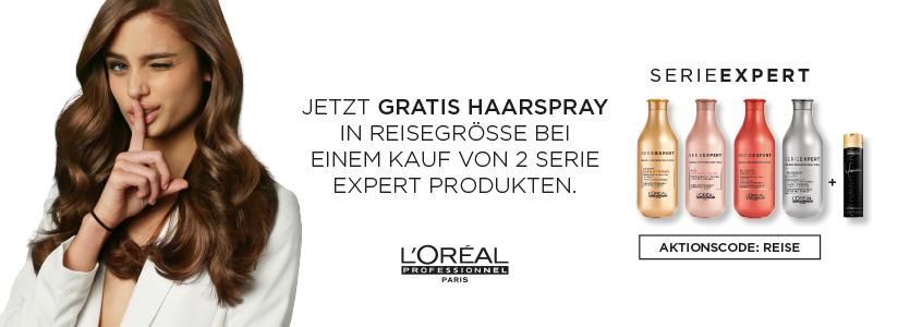 Gratis L'Oréal Infinium Haarspray beim Kauf von 2 Produkten aus der L'Oréal Série Expert. Aktionscode: REISE. Nur solange der Vorrat reicht.