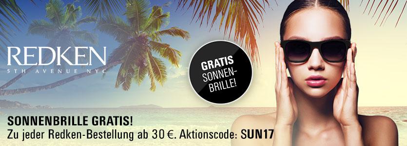 Gratis Redken Sonnenbrille zu jeder Redken-Bestellung ab 30 €. Aktionscode: SUN17. Nur solange der Vorrat reicht.