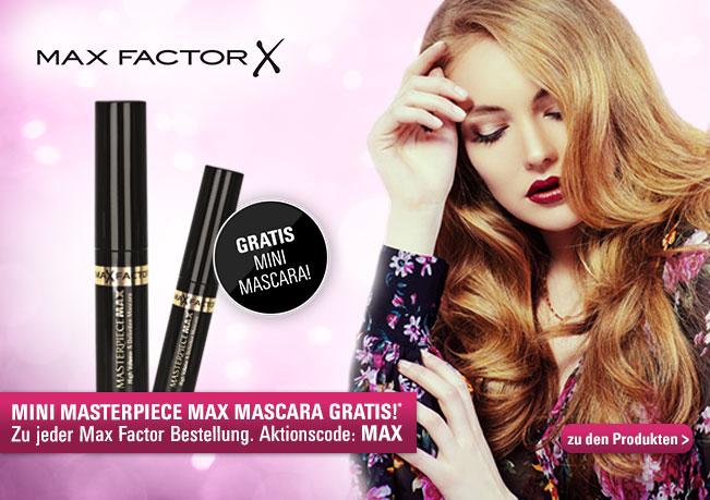 Mini Masterpiece Max Mascara Gratis zu jeder Max Factor Bestellung! Mit dem Aktionscode: MAX