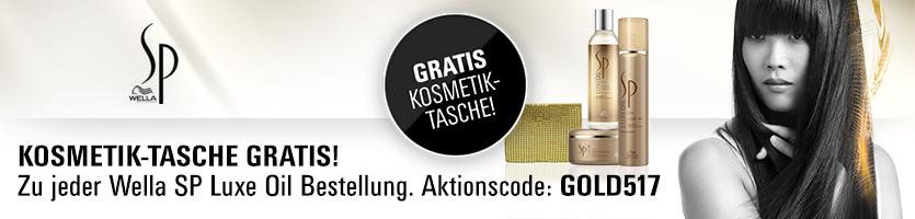 Gratis Kosmetik-Tasche in Gold zu jeder Wella SP Luxe Oil Bestellung. Aktionscode: GOLD517. Nur solange der Vorrat reicht.