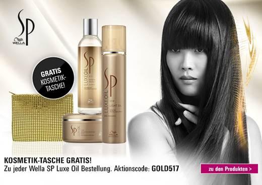 Gratis Wella Kosmetik-Tasche beim Kauf eines Produktes aus der Wella SP Luxe Oil Serie. Aktionscode: GOLD517. Nur solange der Vorrat reicht.