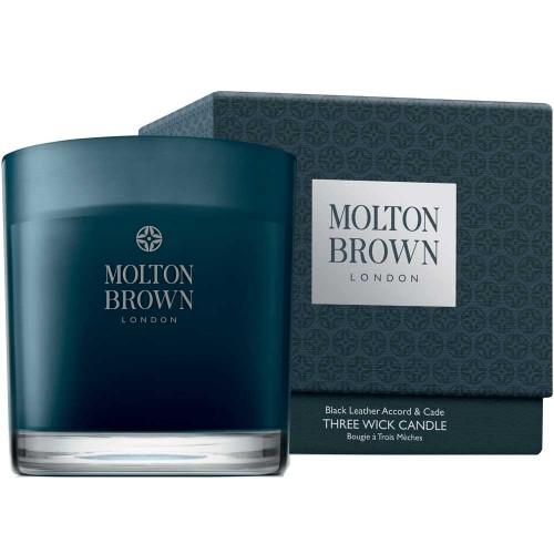 Molton Brown HOME Black Leather Accord & Cade Three Wick