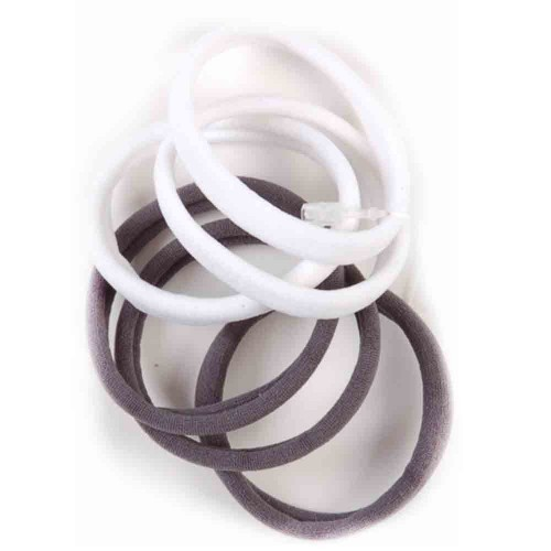 Solida Zopfabbinder Frottee weiß-grau 2x3 Stück
