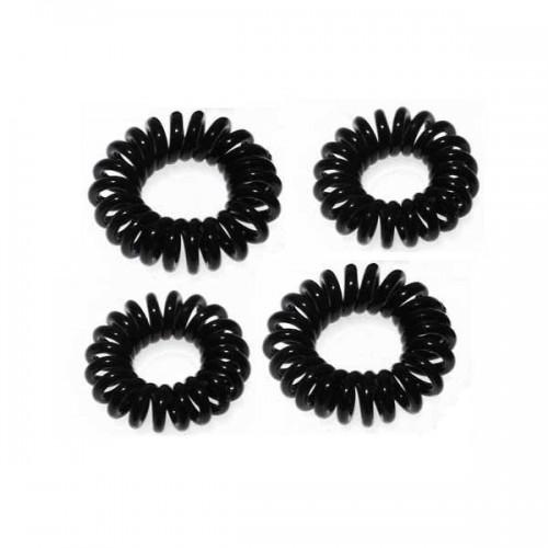 Solida Zopfabbinder Telefonkabel schwarz, 4 Stück