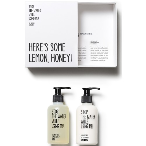 Stop the water while using me! All natural Lemon Honey Hand Kit