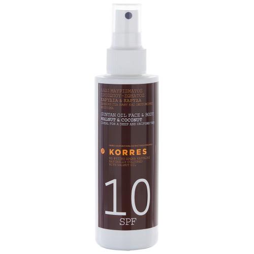 Korres Walnut & Coconut Sonnenöl für Gesicht & Körper SPF 10 150 ml