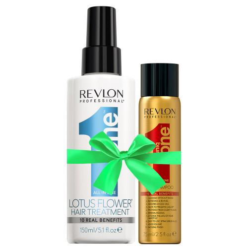 Revlon Uniq One Lotus Flower Treatment 150 ml +  Gratis Dry Shampoo 75 ml