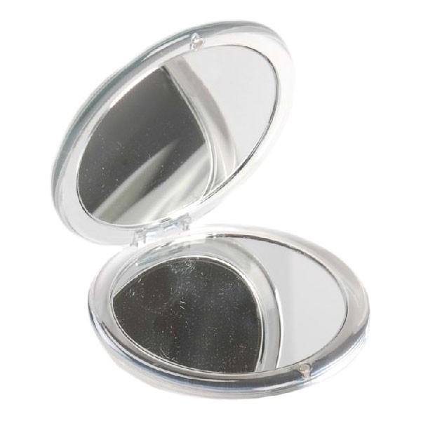 Solida Runder Taschenspiegel, transparent silber