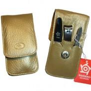 Pfeilring Taschenetui 3-tlg Kalbleder Gold