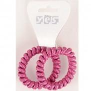 Solida Zopfabbinder Telefonkabel Glitter, pink, 2 Stück