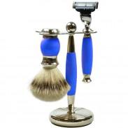 Golddachs Rasierset Silberzupf, blau/silber