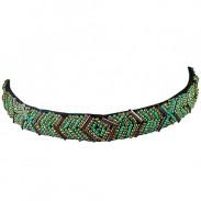 Comair Haarband Perlen grün/gold