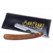 BartZart Rasiermesser mit Holzgriff und Kunstlederetui