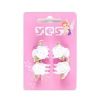 Solida Wasserwellklammer mit Stoffblüte, Weiß