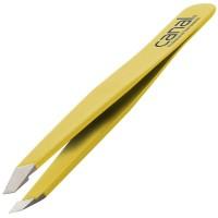 Canal Haarpinzette schräg gelb rostfrei 95 mm