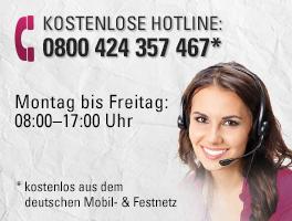 Kostenlose Hotline: 0800 424 357 467