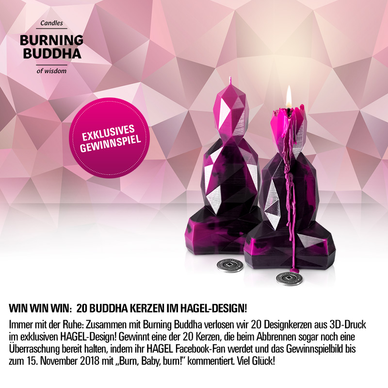 Facebook-Gewinnspiel: Gewinne eine von 20 Buddha-Kerzen im HAGEL Design!