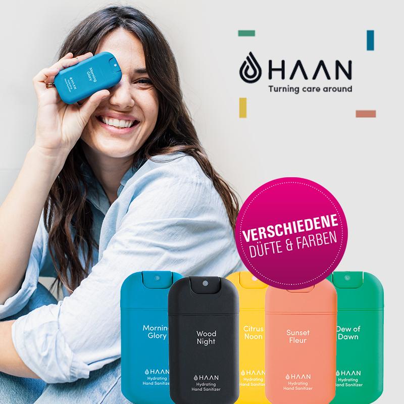 Jetzt neu bei uns: Stylische Hand-Desinfektionsgele von Haan!